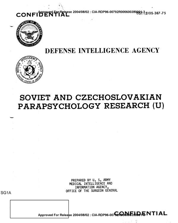 ЦРУ: Советские и Чехословацкие Парапсихологические исследования